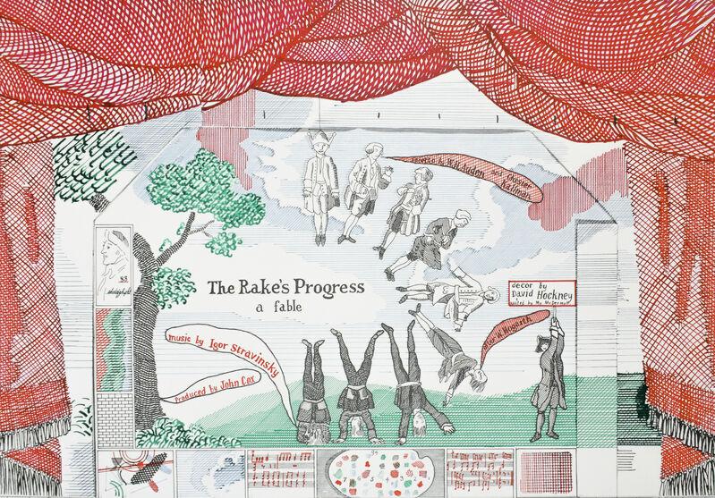 David Hockney, 'Ashmolean Museum 1981 (Curtain for The Rake's Progress Epilogue 1974-75)', 1981, Posters, Offset lithograph on matte paper, Petersburg Press