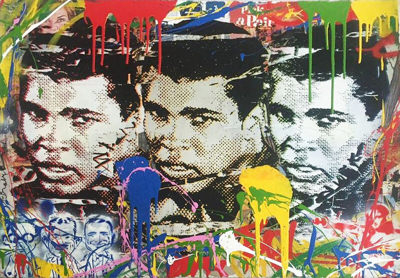 Mr. Brainwash, 'Legend Forever (Muhammad Ali)', 2016, Painting, Mixed media with silkscreen inks on paper, Signed verso, Robin Rile Fine Art