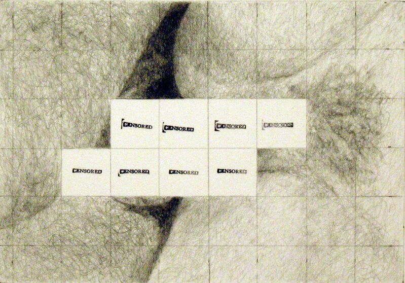 Betty Tompkins, 'Censored Grid #7', 2007, Drawing, Collage or other Work on Paper, Pencil and ink on paper, Rodolphe Janssen