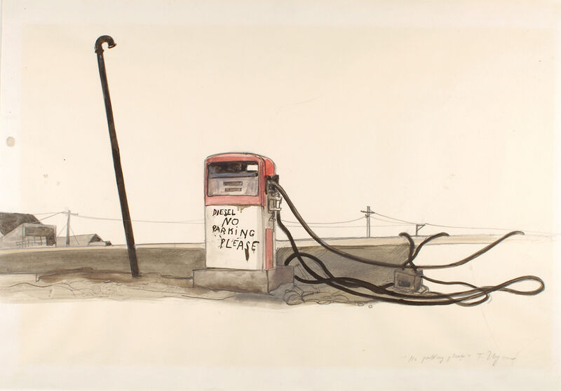 Tomi Ungerer, 'No Parking Please ', 1971-1983, Drawing, Collage or other Work on Paper, Black grease pencil, black ink and colored ink wash on paper, Drawing Center