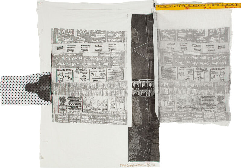 Robert Rauschenberg, 'Sheephead, from Airport Suite', 1974, Print, Relief and intaglio print on fabric in colors with collage of wooden ruler sewn on print, the full sheet., Phillips