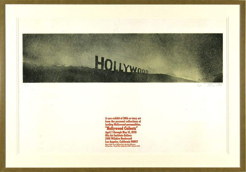 Ed Ruscha, 'Hollywood in the Rain, Hollywood Collects', 1970, Print, Lithograph on paper, Heather James Fine Art Gallery Auction