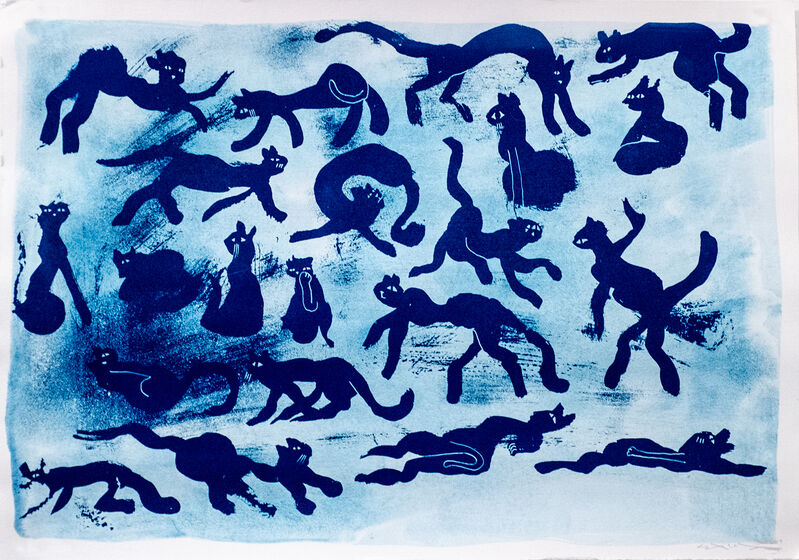 Sam3, 'Cats in the Garden', 2019, Print, Cyanotype on 300gr watercolor paper,, ANNO DOMINI