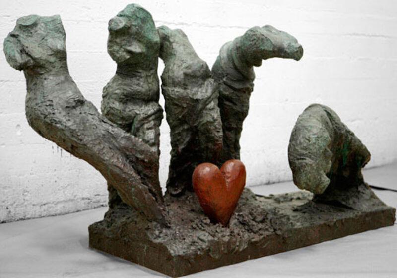 Jim Dine, 'Five Colorful Dancers, One Bronze Heart', 2009, Sculpture, Bronze, Jonathan Novak Contemporary Art