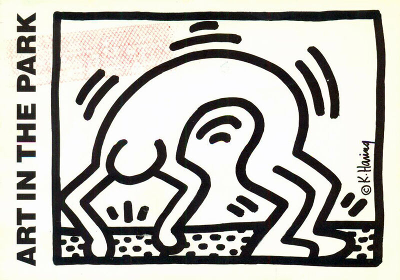 Keith Haring, 'Vintage 1980s Keith Haring announcement card (Keith Haring Stamford CT) ', 1986, Posters, Offset printed announcement, Lot 180