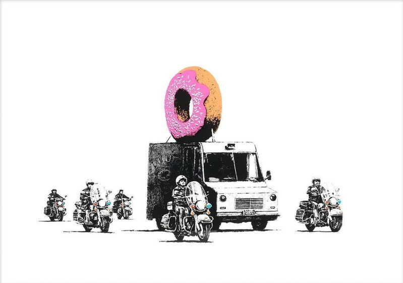 Banksy, 'Strawberry Donut', 2009, Print, Screenprint in colours, on Arches 88 Paper. Signed and numbered from an edition of 299 in Pink Pencil. Issued with a Certificate of Authenticity by Pest Control. Published by Pictures on Walls., HOFA Gallery (House of Fine Art)