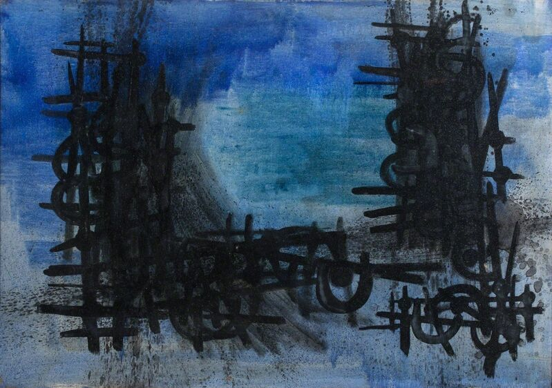 Cesare Peverelli, 'Blue composition', Painting, Oil on canvas, Finarte