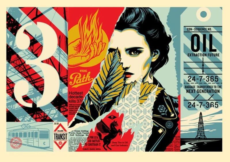Shepard Fairey, 'Wrong Path II - Large Format ', 2018, Print, 5 color screen print on cream 100% cotton archival paper with hand-deckled edges, Gallery Auximenes