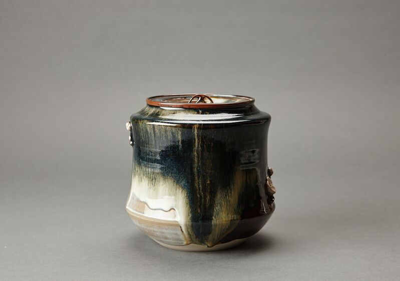 Miraku Kamei XV, 'Water container (mizusashi) with ceramic lid, cherry handles, and kakewake', ca. 2016, Design/Decorative Art, Stoneware, Pucker Gallery