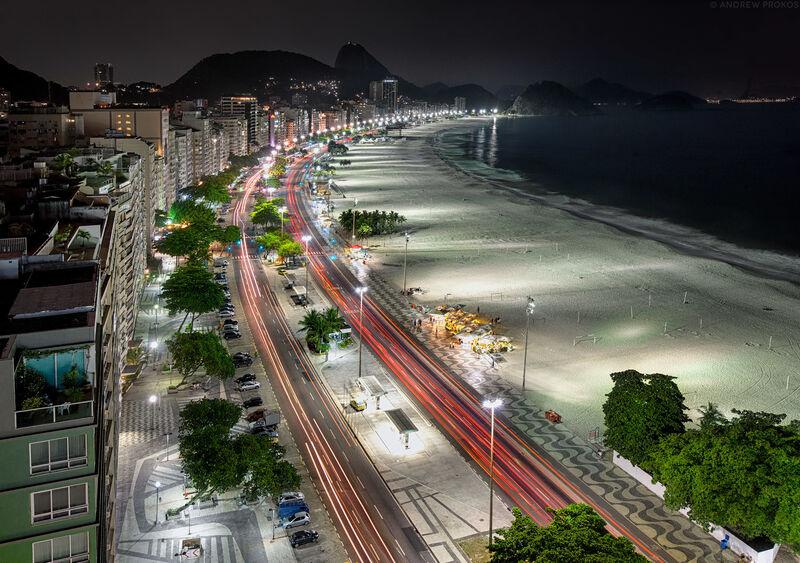 Andrew Prokos, 'Copacabana at Night', 2014, Photography, Archival Pigment Print, Andrew Prokos Fine Art Photography