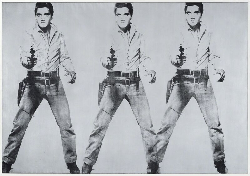 Andy Warhol, 'Triple Elvis [Ferus type]', 1963, Painting, Silver paint, spray paint, and silkscreen ink on linen, San Francisco Museum of Modern Art (SFMOMA)