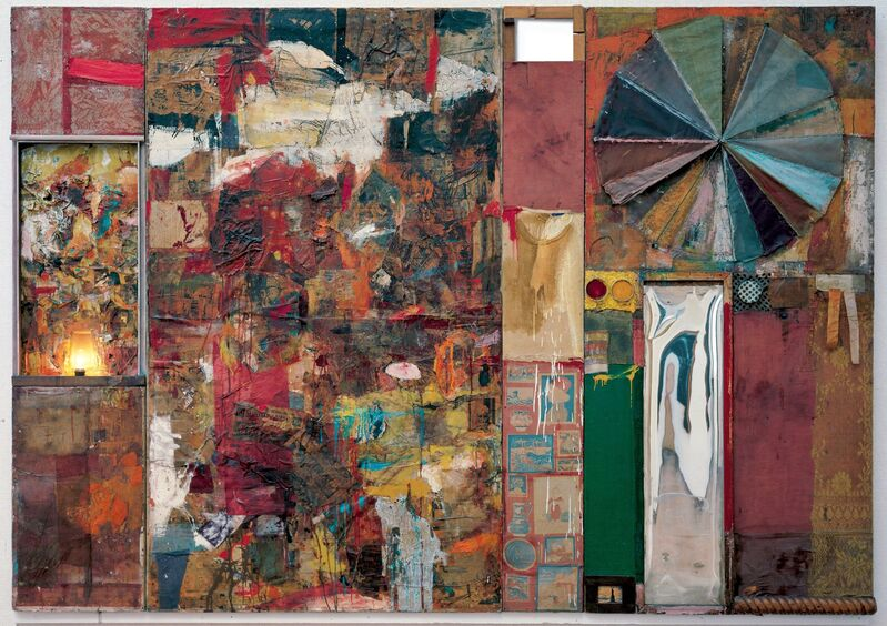 Robert Rauschenberg, 'Charlene', 1954, Mixed Media, Combine: oil, charcoal, paper, fabric, newspaper, wood, plastic, mirror, and metal on four Homasote panels, mounted on wood with electric light, Robert Rauschenberg Foundation