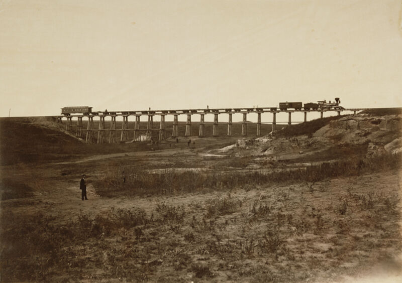 Alexander Gardner, 'Trestle Bridge Near Fort Harker, Kansas', 1867, Albumen silver print, J. Paul Getty Museum