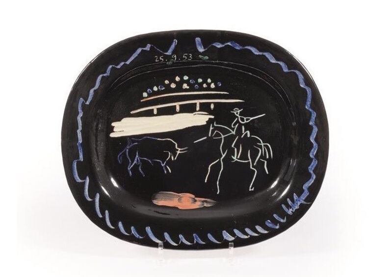 Pablo Picasso, 'Corrida sur fond noir', 1953, Sculpture, Madoura ceramic, BAILLY GALLERY