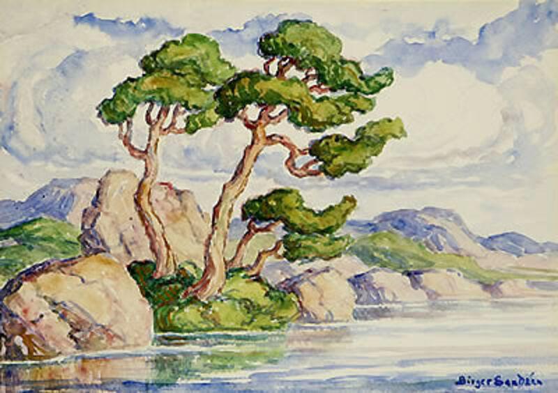 Birger Sandzén, 'Trees Along a River-Estes Park Colorado', 1920, Drawing, Collage or other Work on Paper, Watercolor, Kiechel Fine Art
