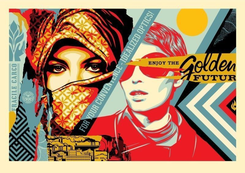 Shepard Fairey, 'Golden Future Large Format Edition ', 2018, Print, The Paper, provided by Legion Paper, is custom 100% cotton Coventry Rag paper which uses salvaged material to create a more eco-friendly product, reusing what would typically be considered waste. The color and features of this fine art paper were created specifically for these large format prints., New Union Gallery