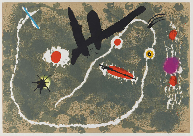 Joan Miró, 'Plate 8 from Le Lézard aux Plumes d'Or [Maeght 806]', 1971, Print, Lithograph in colours on wove, Roseberys