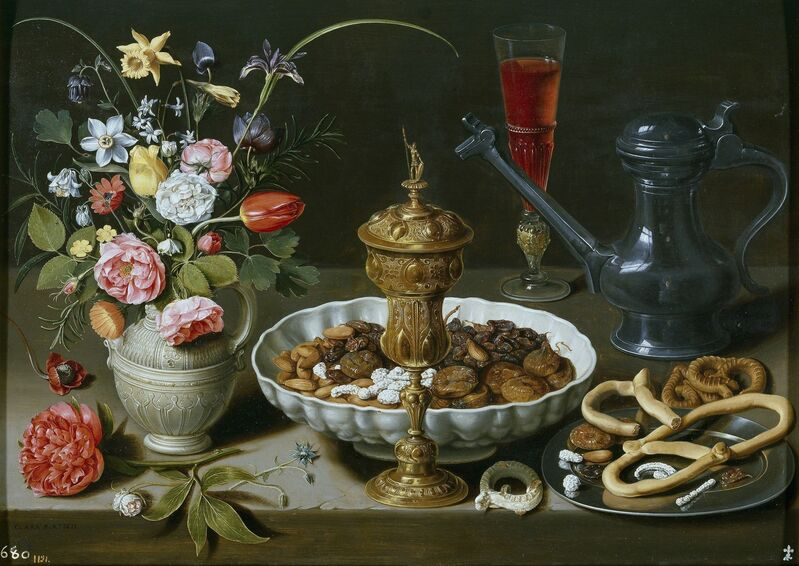 Clara Peeters, 'Still Life with Flowers, Goblet, Dried Fruit, and Pretzels', 1611, Painting, Oil on panel, Art History 101