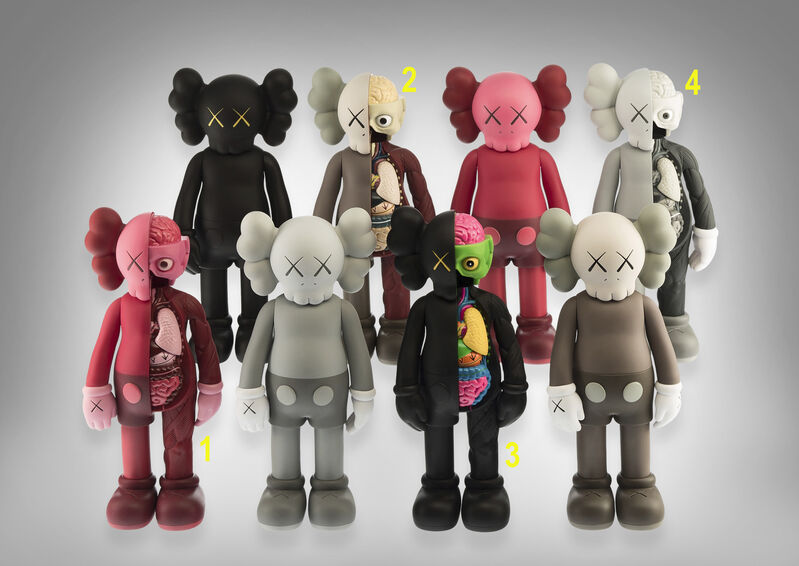 KAWS, 'Kaws Companion (Flayed; Black, Brown, Grey & Blush)', Sculpture, A complete set of four flayed cast vinyl figures, Tate Ward Auctions