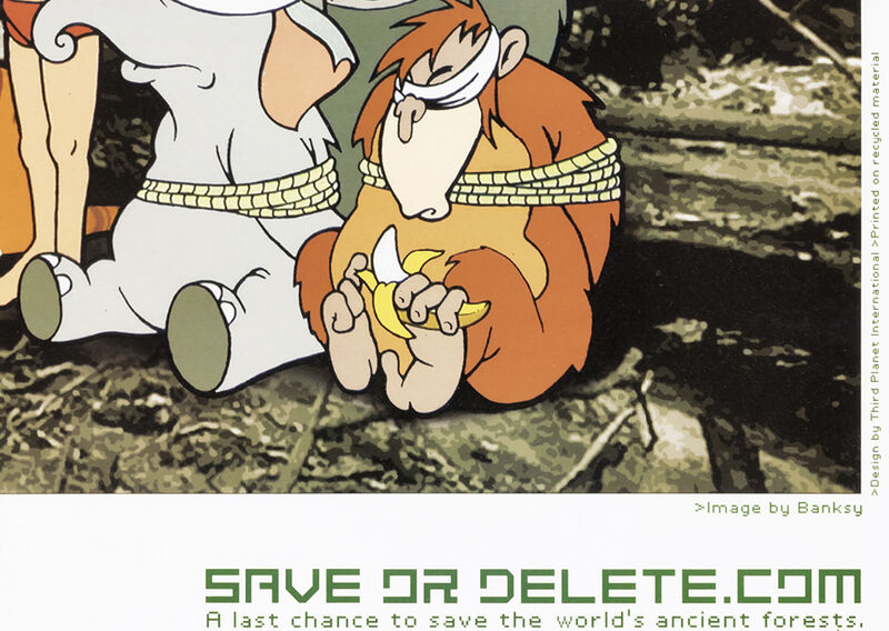 Banksy, ''Greenpeace: Save or Delete'', 2002, Ephemera or Merchandise, Offset lithograph in colors on recycled fine art paper., Signari Gallery