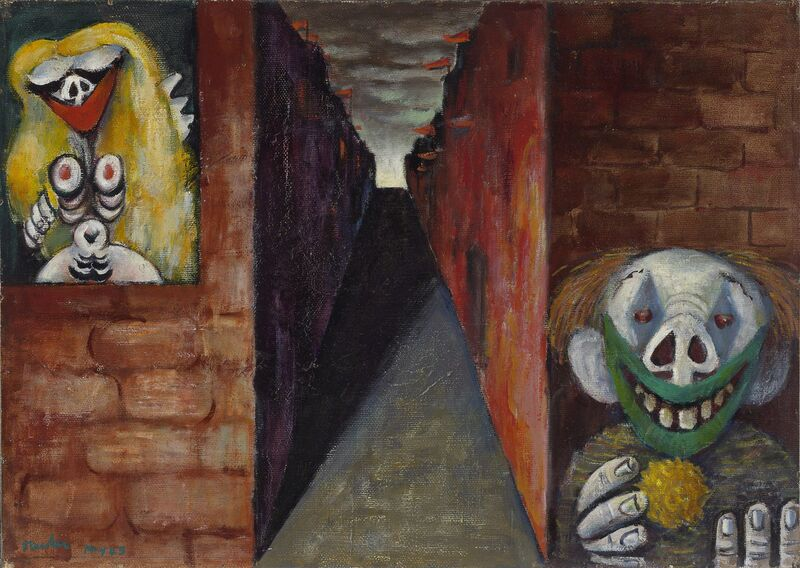 Albert Tucker, 'Image of modern evil: Woman and clown  ', 1943, Painting, Oil on canvas on composition board, National Gallery of Victoria