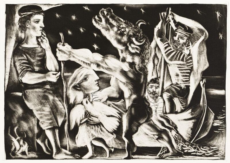 Pablo Picasso, 'MINOTAURE AVEUGLE GUIDÉ PAR UNE FILETTE DANS LA NUIT (B. 225; G/B 437; S.V. 97)', 1934, Print, Aquatint, scraper, drypoint and burin on Montval laid paper, Marc Rosen Fine Art Ltd