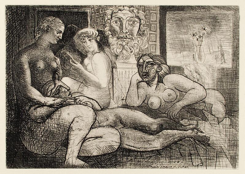 Pablo Picasso, 'QUATRE FEMMES NUES ET TÊTE SCULPTÉE (B. 219; G/B 424; S.V. 82)', 1934, Print, Etching, Marc Rosen Fine Art Ltd