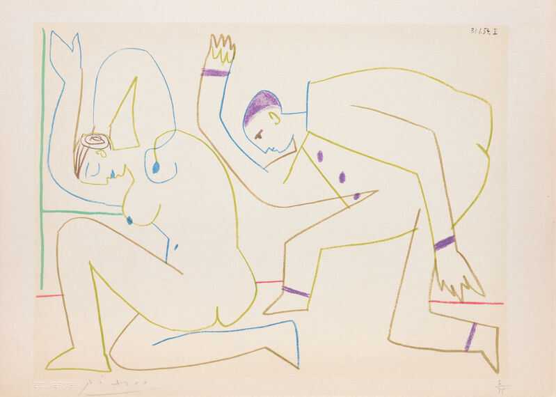 Pablo Picasso, '(Two Dancers.) Untitled from Suite de 15 dessins de Picasso. ', 1954, Print, Lithograph in colours on Arches wove paper, all edges untrimmed, Peter Harrington Gallery