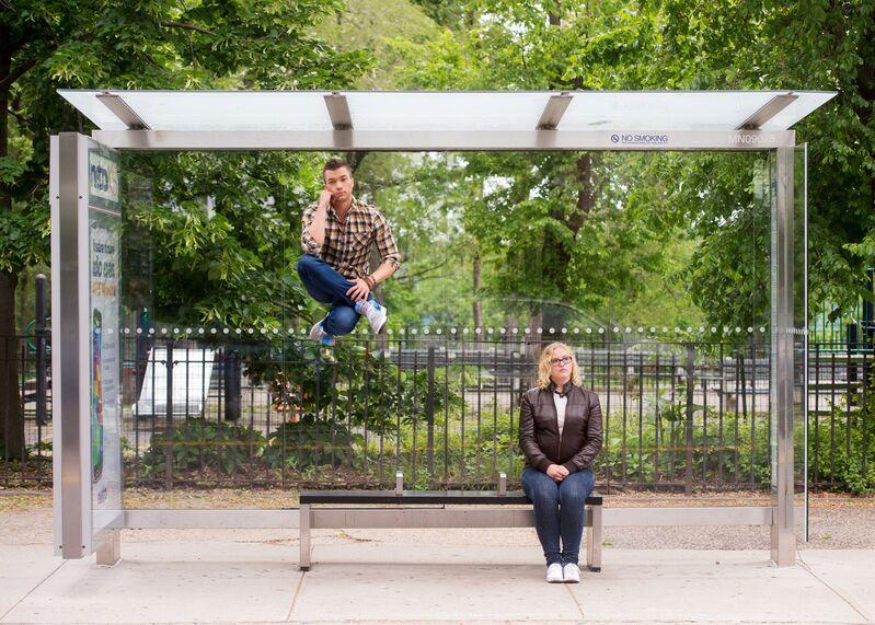 Jordan Matter, 'Commuting | Adam Soniak and Hayley Smith', 2014, Photography, Digital Photograph on Aluminum, Edward Hopper House
