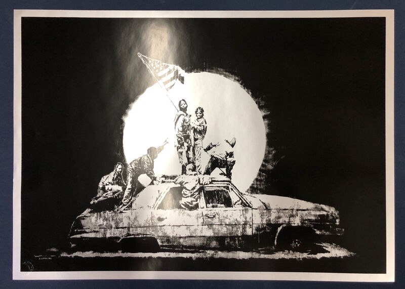 Banksy, 'Silver Flag', 2006, Print, Offset lithograph in black on silver metallic paper, MoonStar Fine Arts Advisors