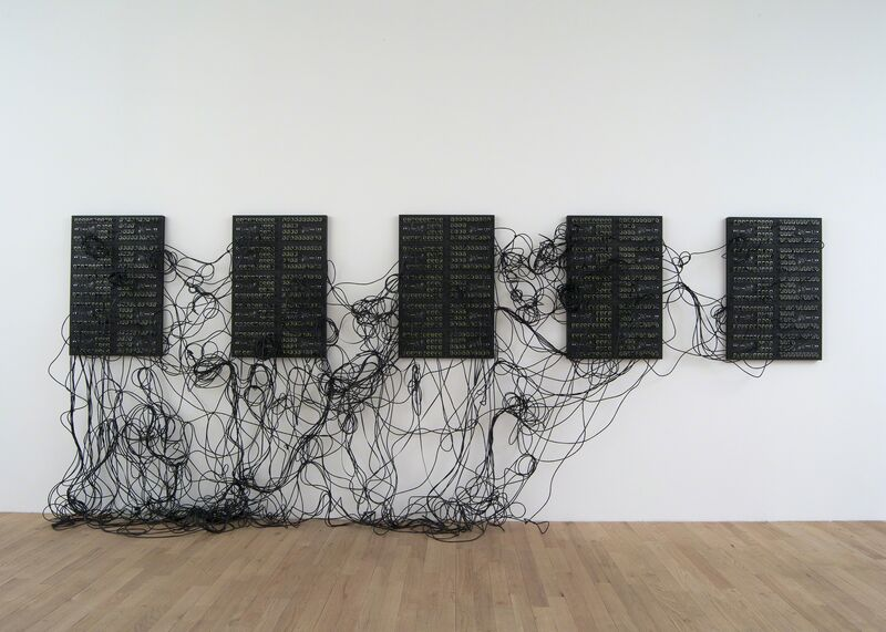 Addie Wagenknecht, 'XXXX.XXX', 2014, Sculpture, Five custom printed circuit boards, ethernet patch cables, 80/20 aluminum, bitforms gallery