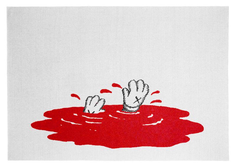 "KAWS, '""Untitled"" Red Cashmere Blanket', 2019, Textile Arts, 100% Cashmere Blanket, © KAWS, Oliver Clatworthy"
