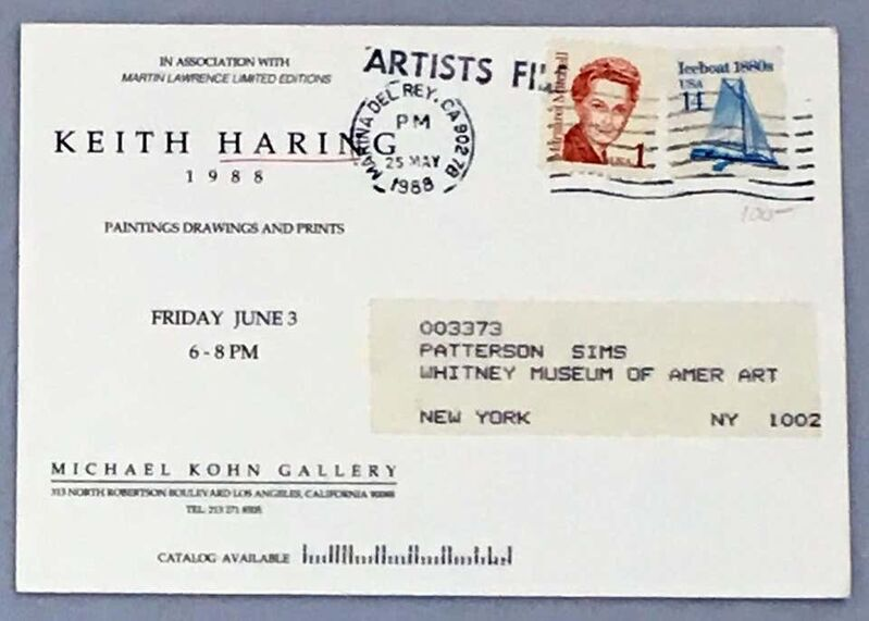Keith Haring, '1980s Keith Haring announcement card', 1988, Ephemera or Merchandise, Gallery announcement, Lot 180