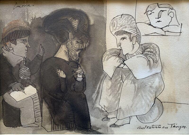 Jose Luis Cuevas, 'Autoretrato en Tangier', ca. 1980, Painting, Ink and watercolor wash on paper, Stern Fine Art