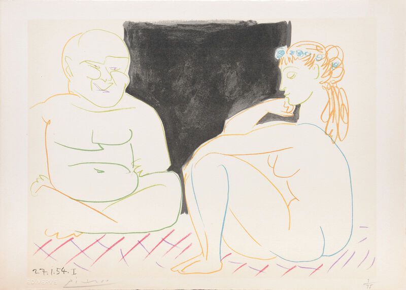 Pablo Picasso, '(The Two Thinkers.) Untitled from Suite de 15 dessins de Picasso. ', 1954, Print, Lithograph in colours on Arches watermarked wove paper, all edges untrimmed, Peter Harrington Gallery