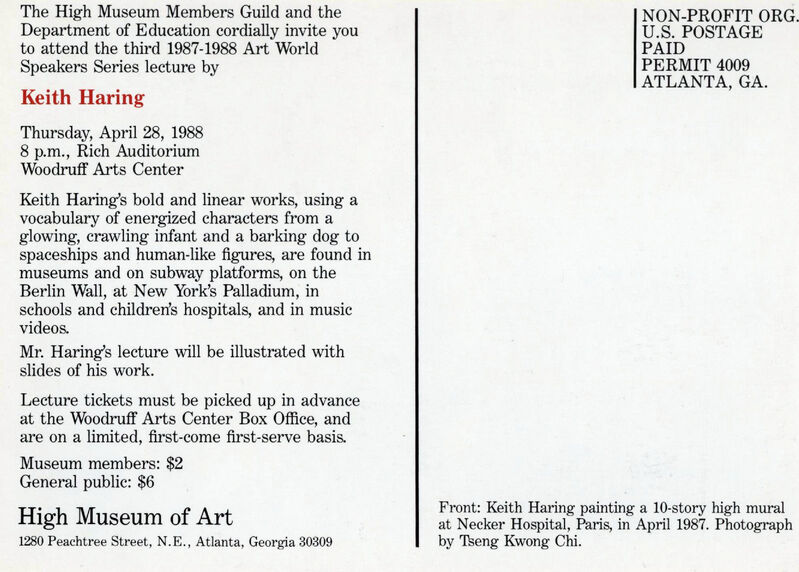 Keith Haring, 'Keith Haring High Museum of Art Announcement Card', 1988, Ephemera or Merchandise, Vintage announcement card, Lot 180