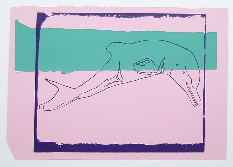 Andy Warhol, 'Vanishing Animals - La Plata River Dolphin', 1986, Drawing, Collage or other Work on Paper, Unique colored paper, collage and silkscreen, Hamilton-Selway Fine Art