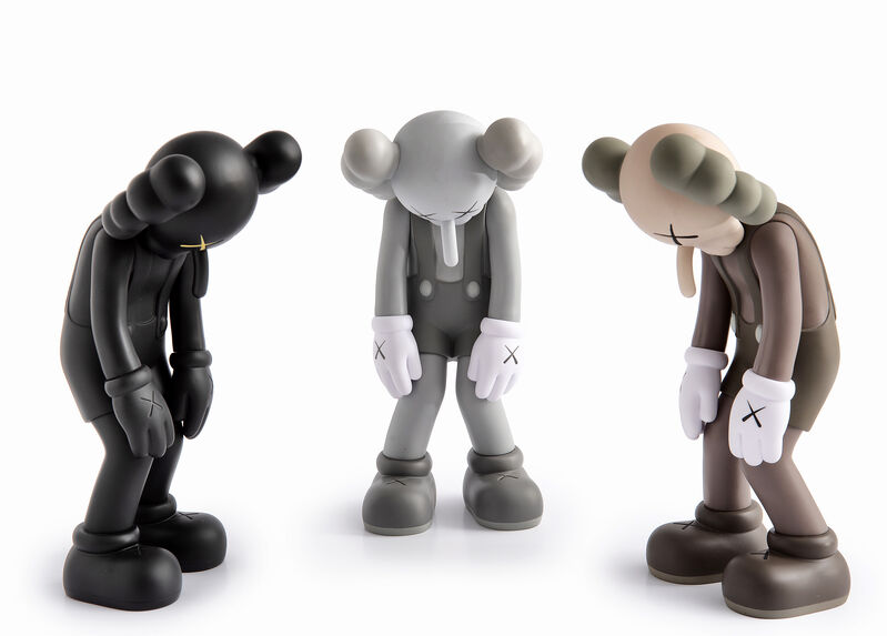KAWS, 'Small Lie (Brown, Black & Grey)', 2017, Sculpture, A complete set of three cast vinyl figures, Tate Ward Auctions