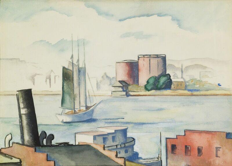 Thomas Hart Benton, 'Harbor Scene, Norfolk', 1918, Drawing, Collage or other Work on Paper, Watercolor, Kiechel Fine Art