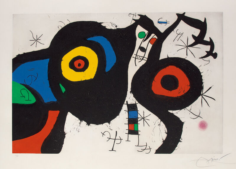 Joan Miró, 'Les Deux amis (The Two Friends)', 1969, Print, Etching and aquatint in colors with carborundum, on Mandeure rag paper watermark Maeght, with full margins., Phillips