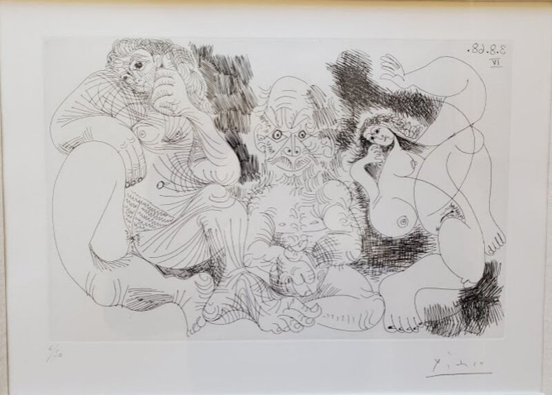 Pablo Picasso, 'Vieillard assis avec une femme et danseuse', 1968, Drawing, Collage or other Work on Paper, Etching on rives, Level1 Gallery