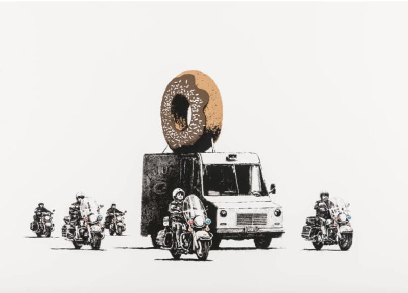 Banksy, 'Donuts (Chocolate)', 2009, Print, Screenprint in colours on Arches 88 Paper. Signed and numbered from an edition of 299 in Brown Pencil. Issued with a Certificate of Authenticity by Pest Control. Published by Pictures on Walls., HOFA Gallery (House of Fine Art)