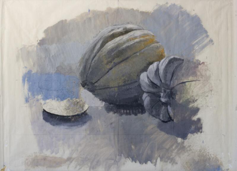 """Alberto Romero, '""""Calabazas y pepitas de calabaza""""', 2017, Painting, Oil on pergamin, Sala Parés"""