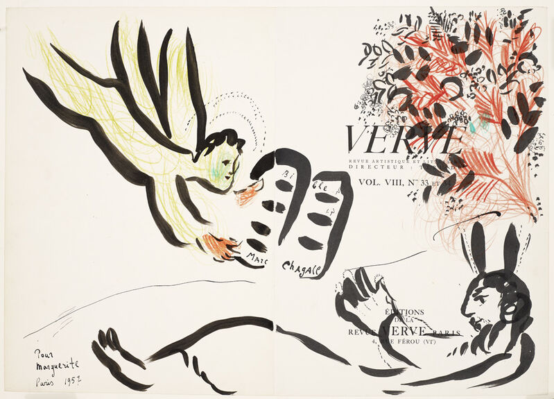 Marc Chagall, 'Verve', 1957, Mixed Media, Pastel and Ink Drawing, Galerie Maximillian