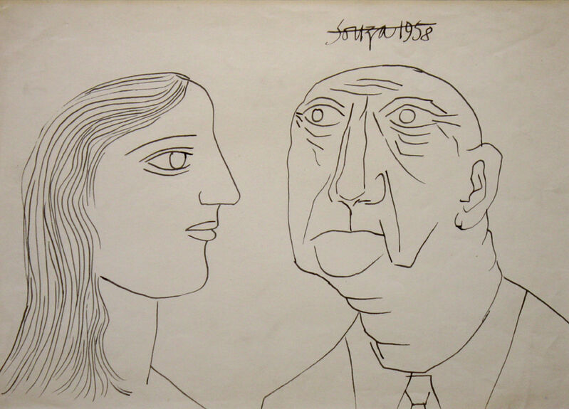 Francis Newton Souza, 'Untitled (Portrait of a Man and Woman)', 1958, Drawing, Collage or other Work on Paper, Ink on paper, Aicon Gallery