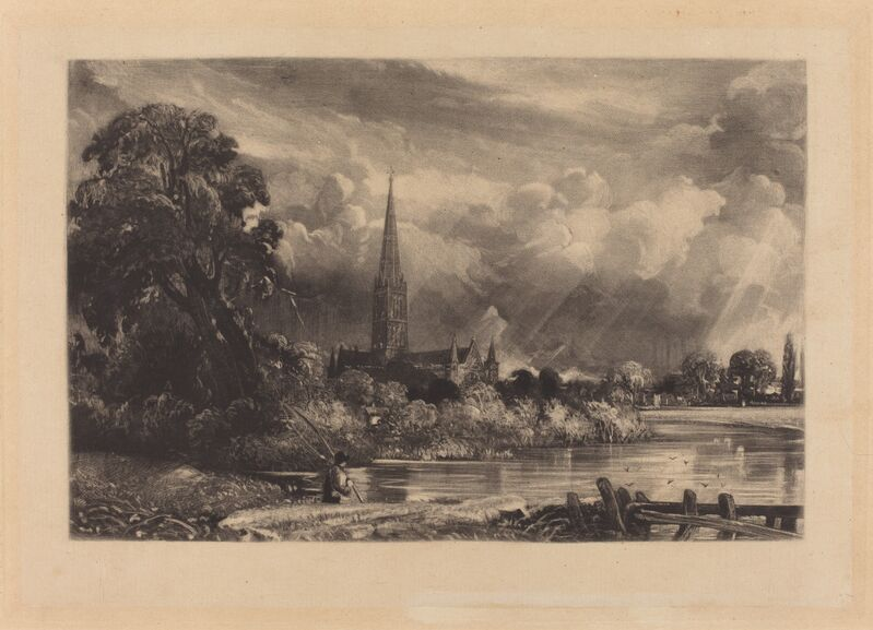 David Lucas after John Constable, 'Salisbury Cathedral', in or after 1831, Print, Mezzotint [progress proof], National Gallery of Art, Washington, D.C.