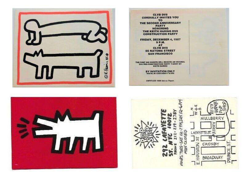 "Keith Haring, 'Set of 5 Invitations- ""Painted Man"" 1983, POP SHOP NYC 1980's, Club DV8 1987', 1980's, Ephemera or Merchandise, Lithograph on card stock, VINCE fine arts/ephemera"
