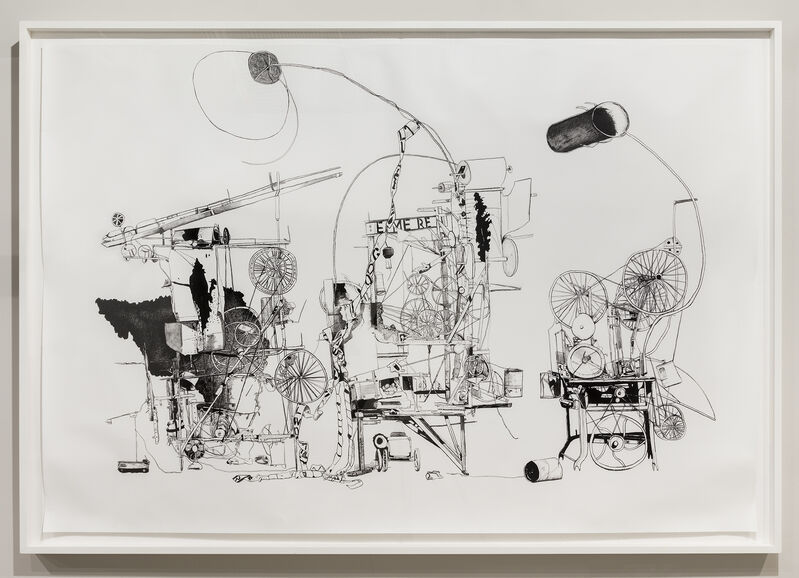 Michael Landy, 'H.2.N.Y. Self-Constructing, Self-Destroying Machine', 2006, Drawing, Collage or other Work on Paper, Charcoal on paper, David Nolan Gallery