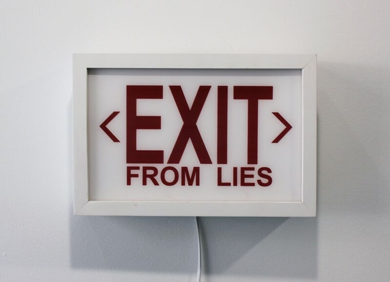Cabell Molina, 'EXIT from LIES', 2017, Sculpture, Light box sculpture made of wood, plexi, spray paint, The Untitled Space