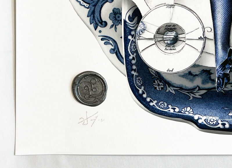 Handiedan, ''Vesica Piscis in Blue'', 2021, Print, Giclée print with Augmented Reality (AR) on 315gsm Etching Cotton Rag fine art paper with real wax stamp., Signari Gallery